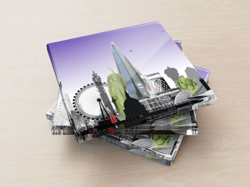London Skyline With A Twist Purple - Glass Coasters